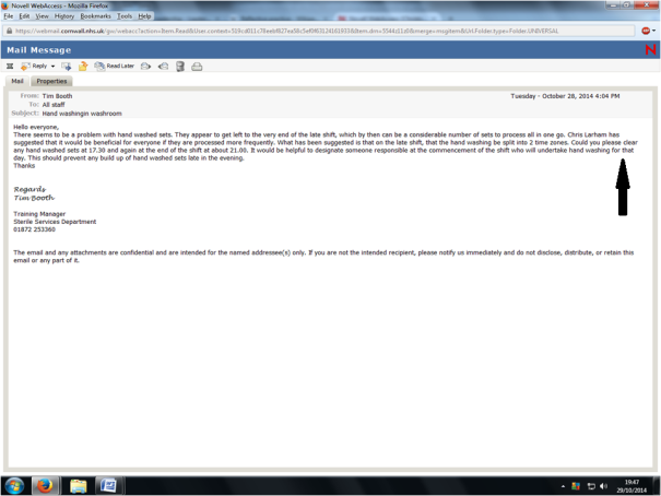 Image of an email sent by Tim Booth (SSD Training Manager) to all staff regarding the manual wash process.