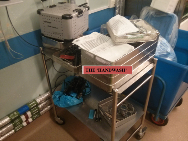 Image of unsorted medical items requiring manual washing.