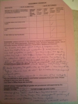 An image of the feedback sheet critiquing Chris Larham's close analysis of Carol Ann Duffy's 'Valentine' [66%, 2004].