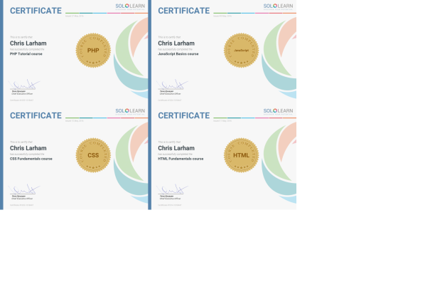 An image of Chris Larham's SoloLearn certification [2016].
