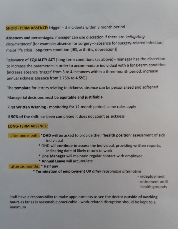 Image of the second page of Chris Larham's word processed notes, typed up after attending a session entitled 'Managing Sickness and Other Absences in the Workplace' on 31.1.17.